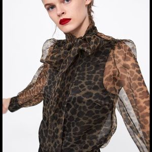 ZARA: Sheer Animal / Leopard Print Blouse With Bow